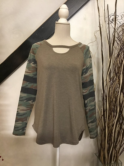 Camo Sleeved Top