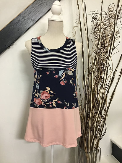 Sleeveless Tank with Pinstripe and Floral Patterns