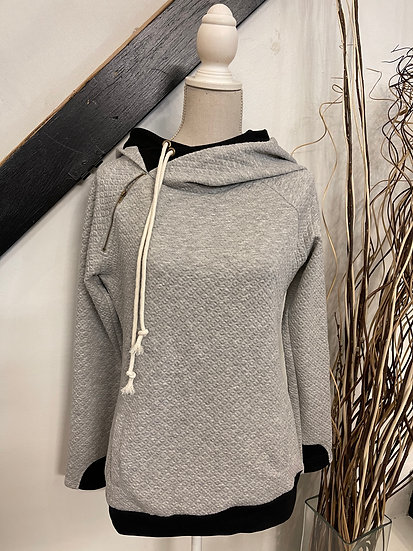 Quilted Gray Double Hoodie