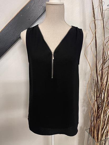 Black Front Zipper Sleeveless Top