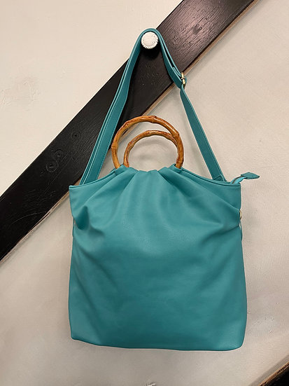 Aqua Stacey Bamboo Foldover Tote Bag
