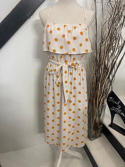 Polka-Dot Ruffle Top Midi Dress