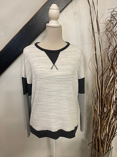 LS Round Neck Color Block Waffle Knit Top: ivory and charcoal