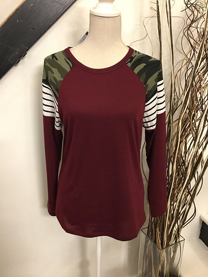 Camouflage and Stripes Top