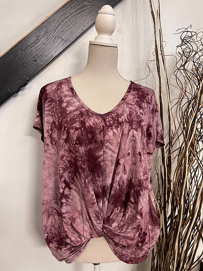 Wine Tie Dye V Neck Front Knot Detail Top