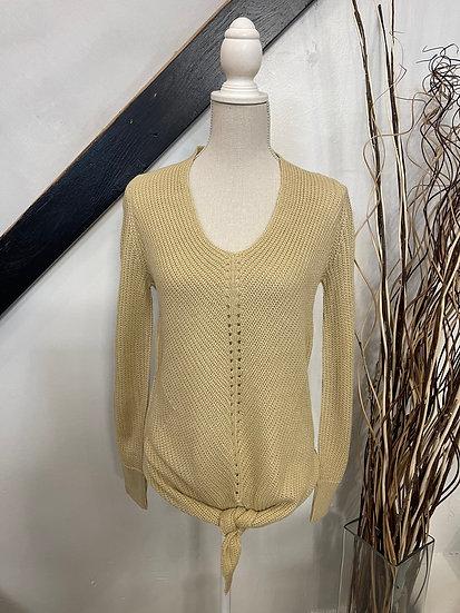 Beige Tie Front Sweater