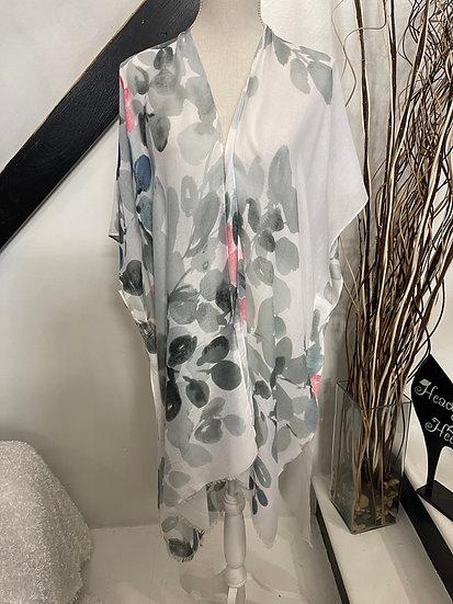 Gray Leaf Print Kimono