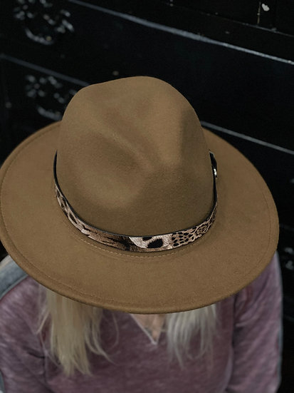 Brown Hat with Animal Print Band