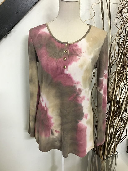 Long Sleeve Tie Dye Thermal Tunic Top