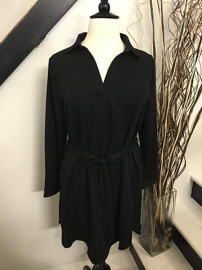 Black Dress with Tie Belt