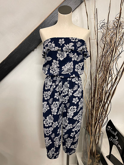 Navy Strapless Ruffle Floral Jumpsuit