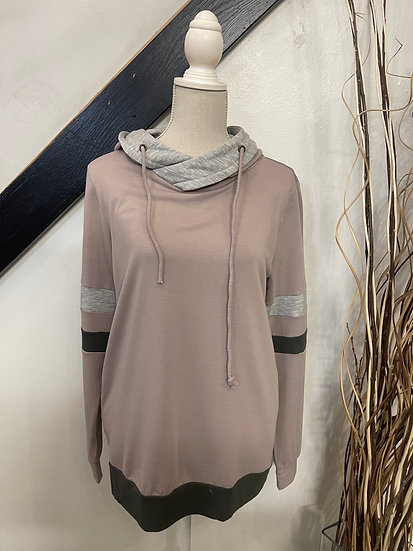Mocha Pullover Terry Hoodie with Grey and Olive