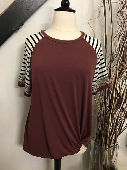 Red Brown Raglan Short Sleeve Top with Knot Detail