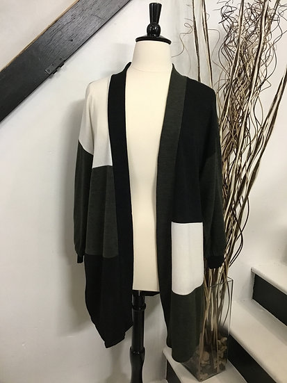 Olive/ Black Color Block Knit Cardigan