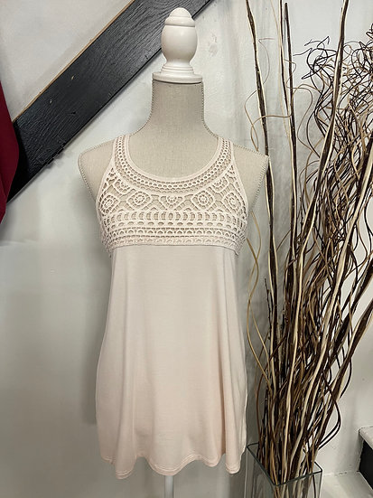 Tan Crochet Lace Front Sleeveless Top