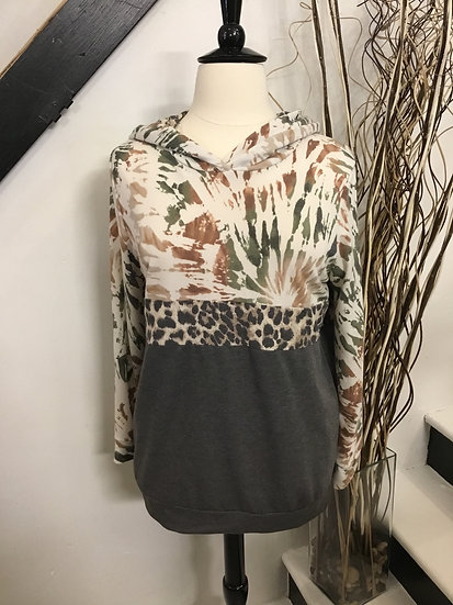 Long Sleeve Hoodie Knit Top with Tie Dye and Leopard Print