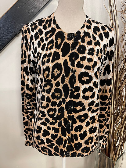 Animal Print Button Up Sweater