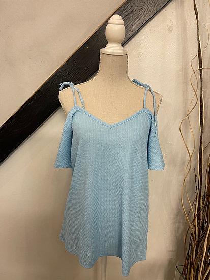 Light Blue Cold Shoulder with Spaghetti String Detailed V-Neck Top