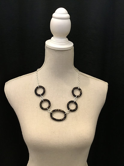 Black/Gold Circle Necklace