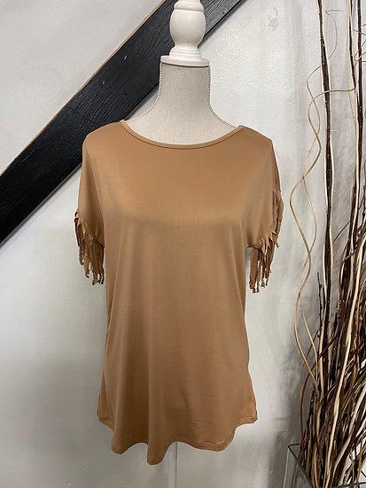 Camel Fringe Detailed Sleeve Top
