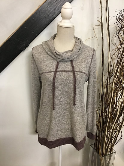 Long Sleeve Cowl Neck Top with Contrast Stitching