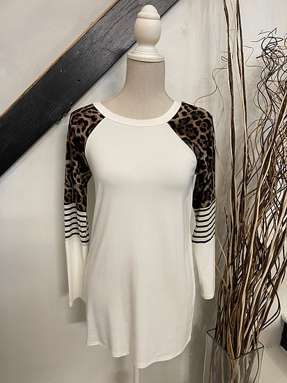 White LS with Animal Print and Stripe Sleeve