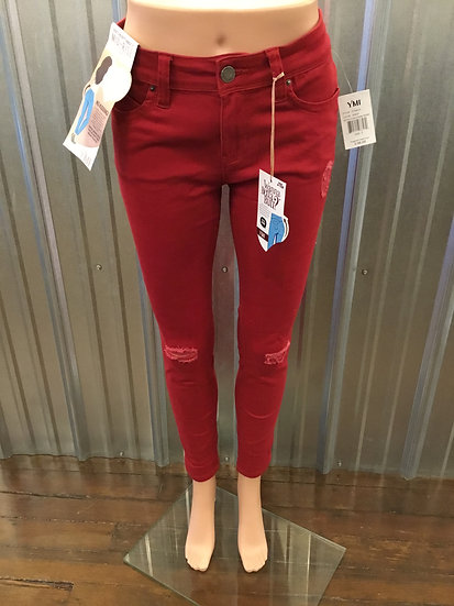 Mid Rise Red Skinny with Distressed Knees