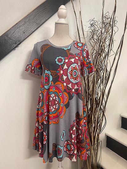 Gray Multi Medallion Print Ruffled SS Dress with Pockets!
