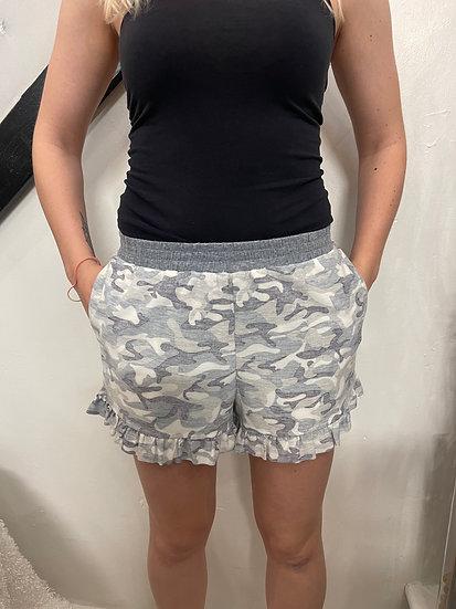Camo Mini Ruffle Knit Shorts