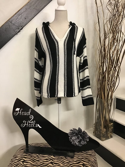 Black/White Stripe Sweater with Hood