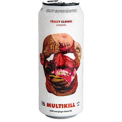 Multikill Chilli and ginger black IPA 16° Crazy Clown 0,5l plech