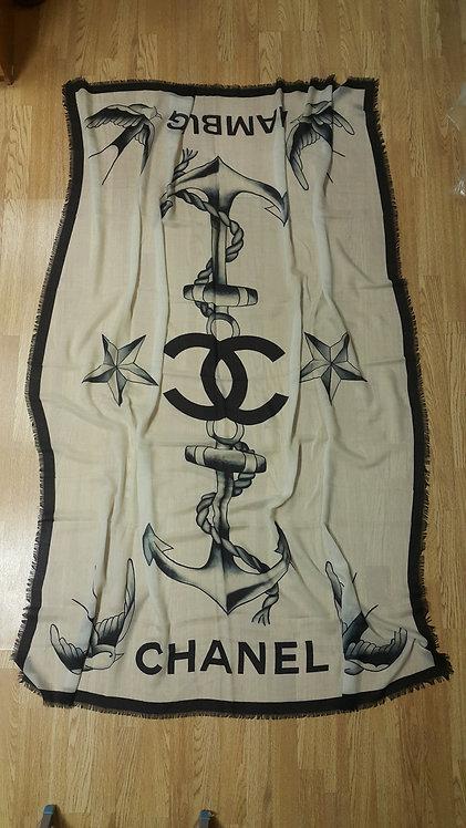 Палантин Chanel, размер 135 x 190 cm, 100% кашемир