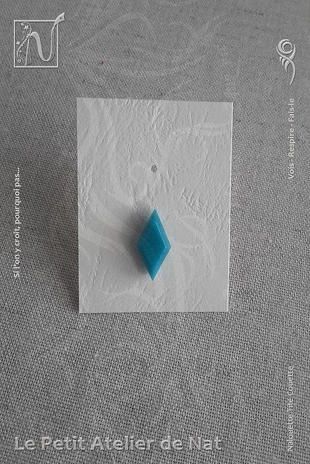 Boucle d'oreille « Luminescence » - Losange solo - Bleu Turquoise