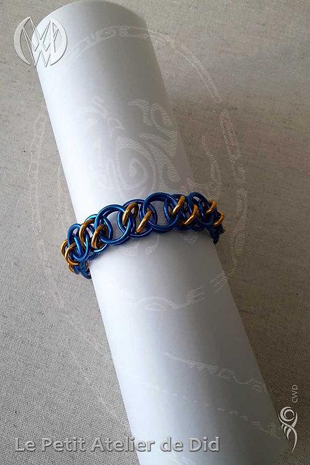 Bracelet « Chaîne d'anneaux » Bleu Or (Vue de dessus)