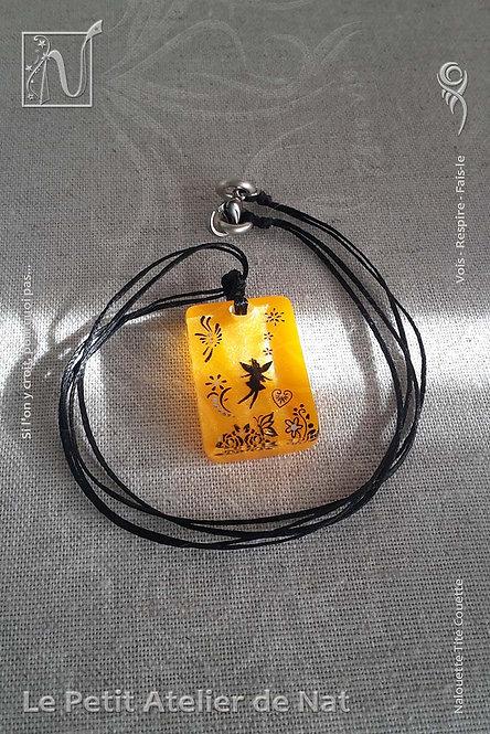 Collier « Fée Citrouille » - TitRectangle - Orange