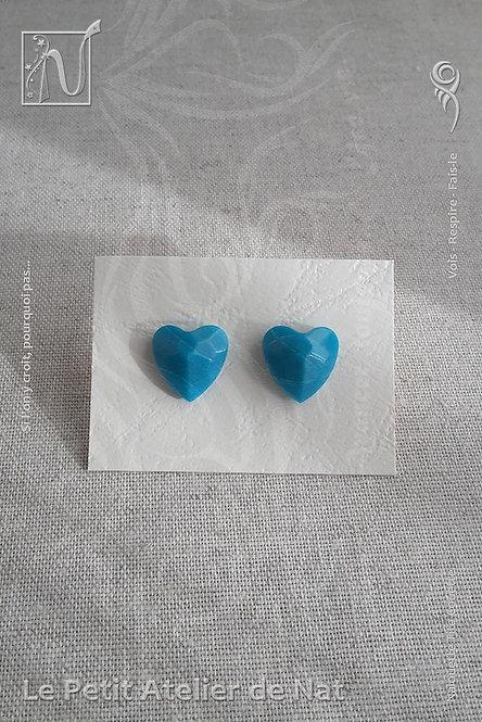 Boucles d'oreilles « Luminescence » - Coeur - Bleu Turquoise