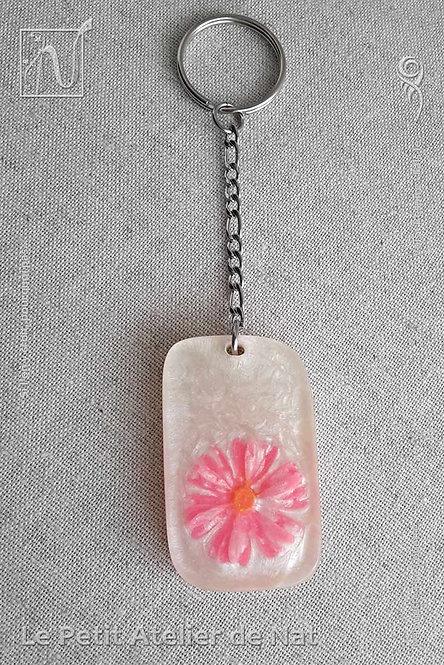Déco de sac « Lueur de fleur » n°1, blanc nacré avec fleur Rose fluo - Phosphorescente (Vue de dessus)