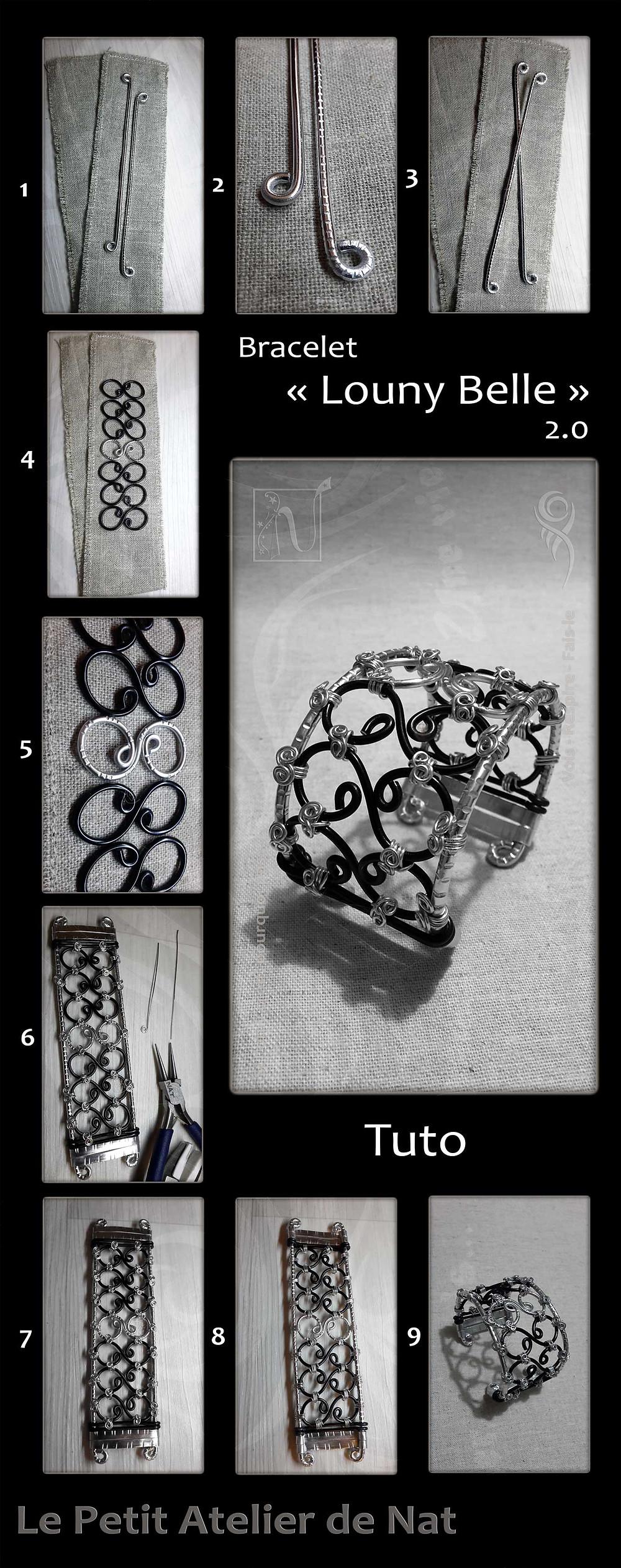 Voici une composition graphique de plusieurs photos montrant les étapes de fabrication du bracelet