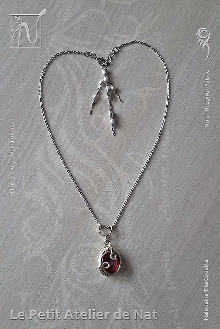 Collier « Rouge galet »