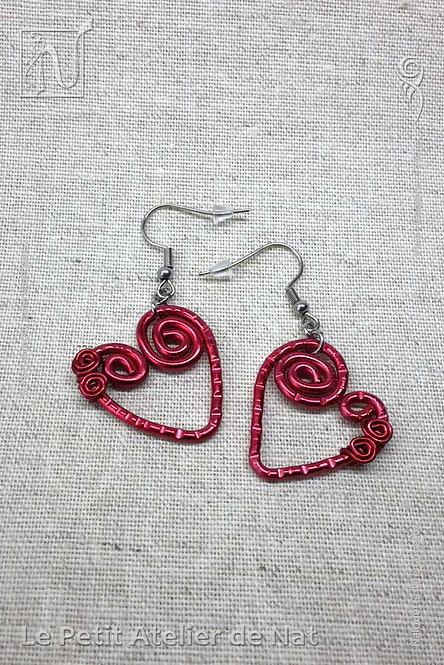 Boucles d'oreille « Coeur passionné» version 1.0 (Vue de dessus)