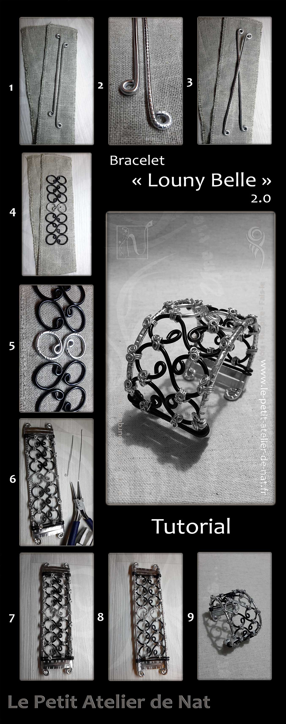 Here is a graphic composition of several photos showing the manufacturing steps of the bracelet