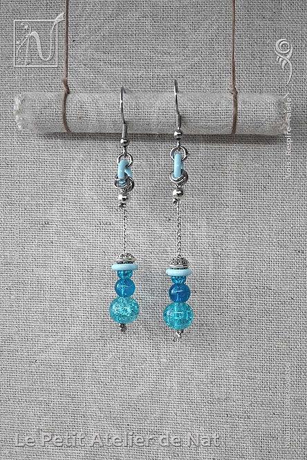 Boucles d'oreilles, série « Les Pitchounettes » - Bleu Pastel et Turquoise (Vue de face)