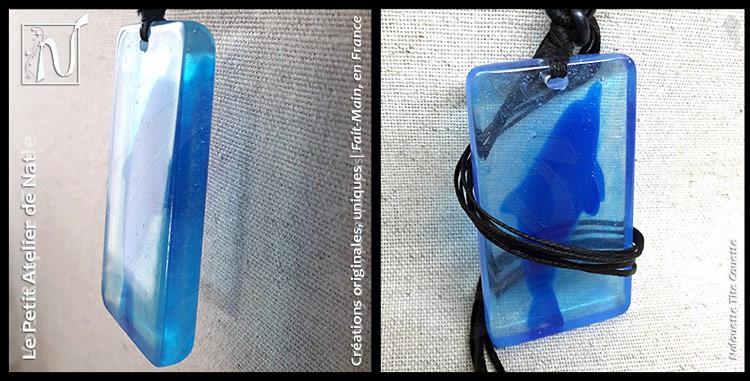 Collier à pendentif rectangulaire avec inclusion de dauphin en résine