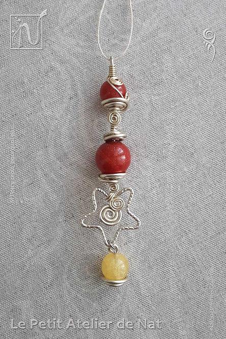 Objets décoratifs - Collection « Étoile de Noël » - Pendentif décoratif #1 Rouge et Doré (Vue de dessus)