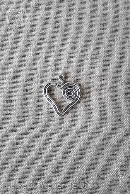 Pendentif « Coeur jolie » Argent (Vue de dessus)