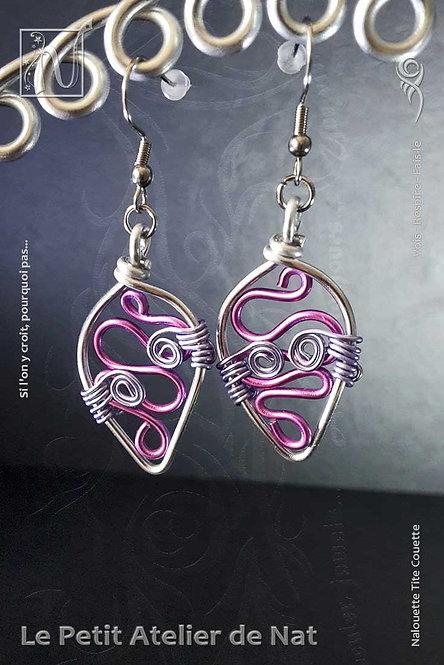 Boucles d'oreille « Feuille serpentine » [V1] Rose Lilas