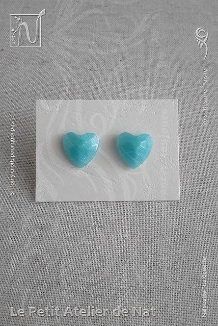 Boucles d'oreilles « Luminescence » - Coeur - Bleu Ciel