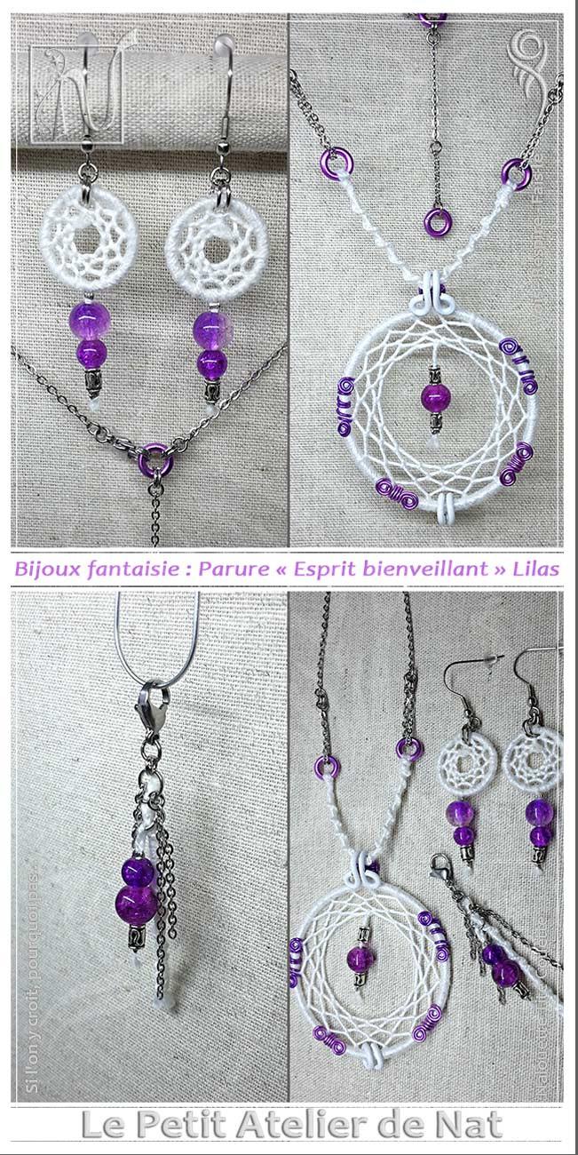 Bijoux fantaisie : Parure « Esprit bienveillant » Lilas - Style indien / Style amérindien