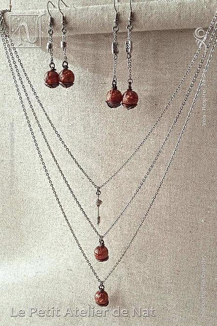 Parure « Les nébuleuses » Poussière d'étoile cuivrée 1.0 - Collier et paires de Boucles d'oreille (Vue de côté, droit)