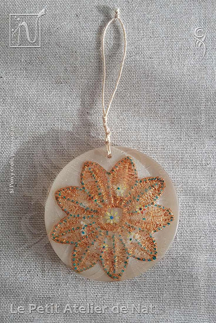 Décoration « Fleur de Noël » #2 - Décoration dorée, luminescente (Vue de dessus, devant)